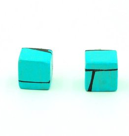 Hue+Wood Jewelry Light Blue Wood Stud Earrings