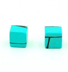 Hue+Wood Jewelry Light Blue Wood Stud Earrings