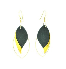 Cassie Stonewares Black Leaf Earrings