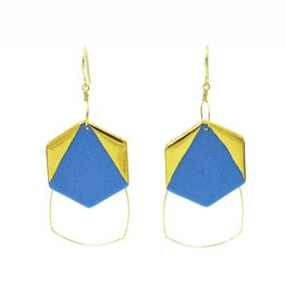 Cassie Stonewares Blue Hexagon Earrings