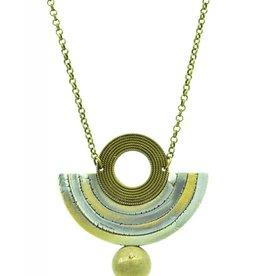 Eva Andre Design Gray Semicircle Gemstone Long Chain Necklace