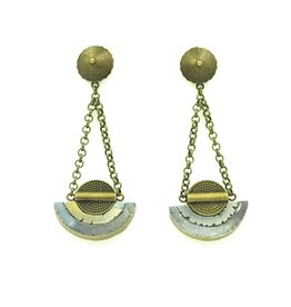 Eva Andre Design Gray Semicircle Long Dangle Earrings Stud