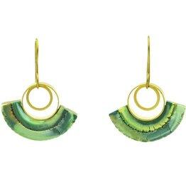Eva Andre Design Green Semicircle Dangle Short Earrings