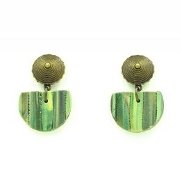 Eva Andre Design Green Semicircle Short Earrings