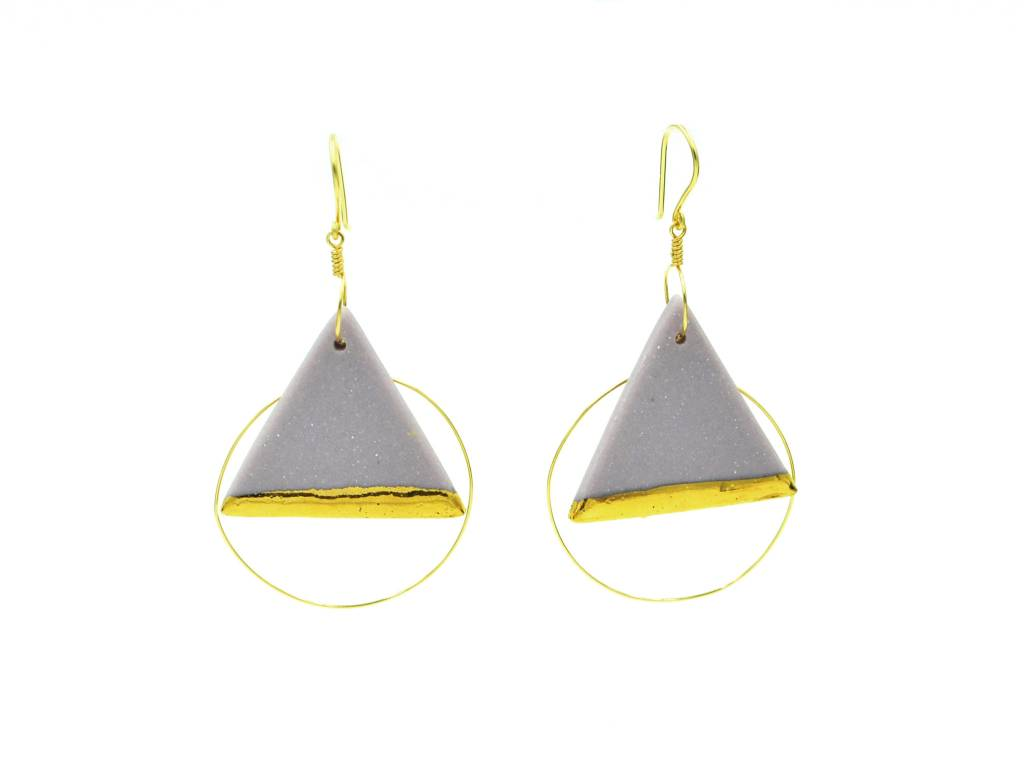 Cassie Stonewares Lavender Triangle Earrings