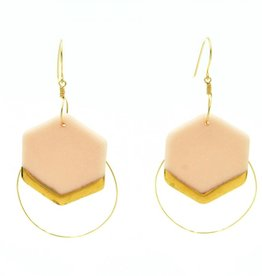 Cassie Stonewares Light Pink Hexagon Earrings