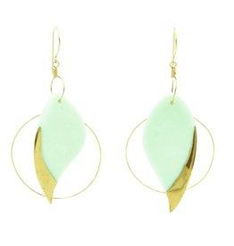 Cassie Stonewares Mint Leaf Earrings