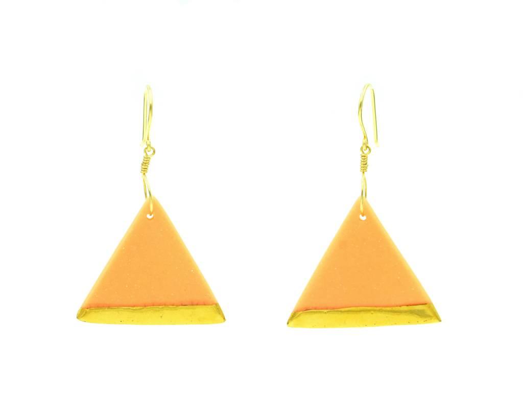 Cassie Stonewares Salmon Triangle Earrings