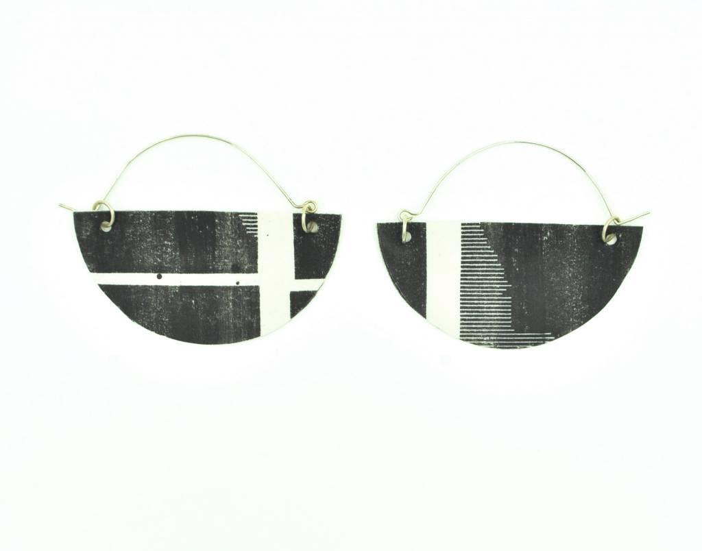 Mimi Logothetis Earrings-White Stripe