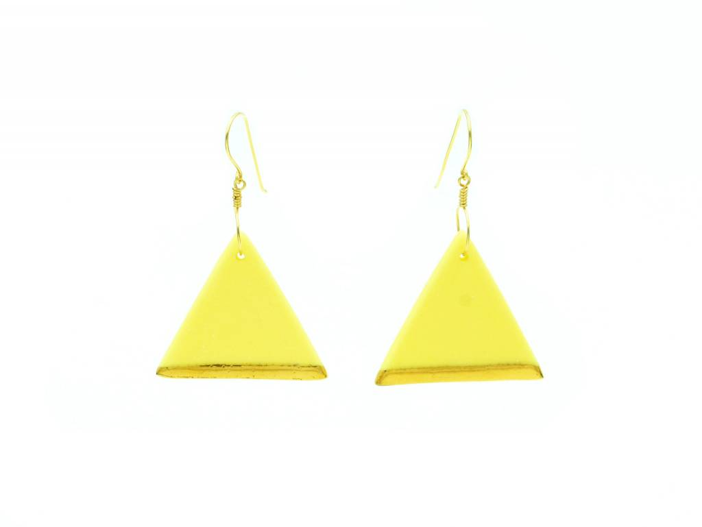 Cassie Stonewares Yellow Triangle Earrings