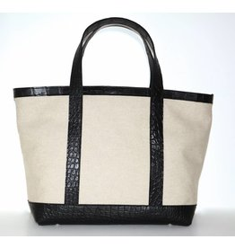 ALLIGATOR & LINEN TOTE MEDIUM NATURAL/BLACK
