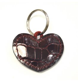 ALLIGATOR HEART KEYCHAIN BORDEAUX