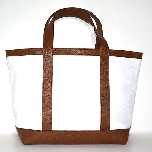 LEATHER TOTE MEDIUM WHITE 01/CUOIO 35