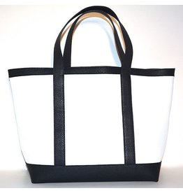 LEATHER TOTE MEDIUM WHITE 01/NAVY 79