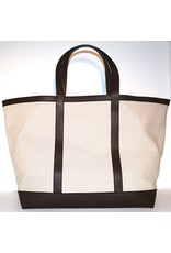 LINEN & LEATHER TOTE LARGE NATURAL/TMORO 03