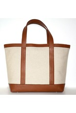 LINEN & LEATHER TOTE MEDIUM NATURAL/CUOIO 35
