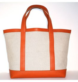 LINEN & LEATHER TOTE MEDIUM NATURAL/ORANGE 75