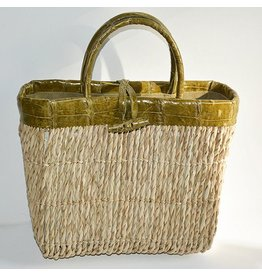 RAFFIA TOTE GREEN MEDIUM