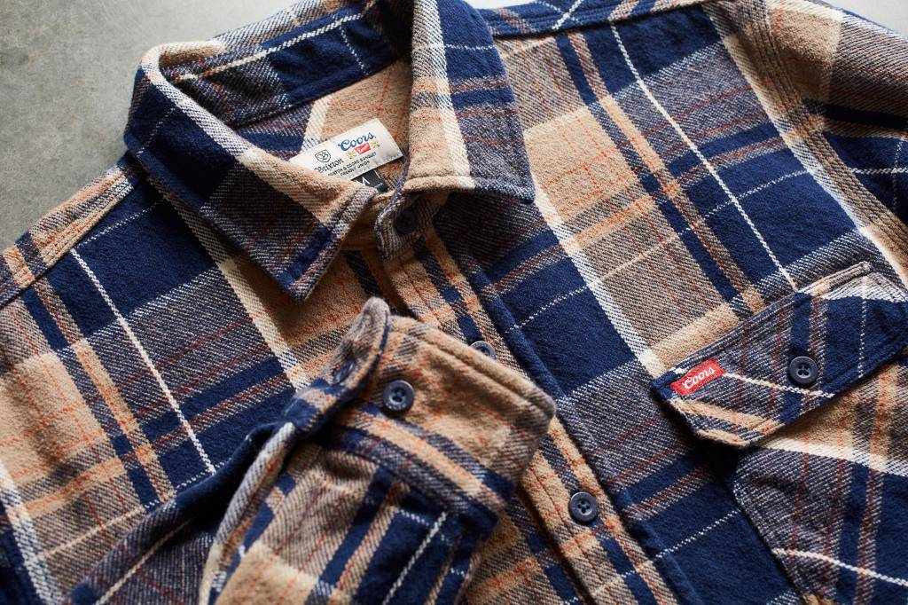 BRIXTON BOWERY COORS L/S FLANNEL - NAVY PLAID