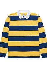 THEORIES OF ATLANTIS POLAR BLOCK STRIPE L/S POLO - NAVY/YELLOW