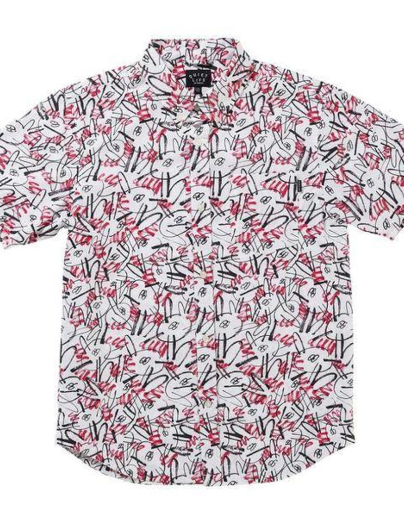 QUIET LIFE QUIET LIFE JARVIS S/S BUTTON - RED/WHITE