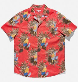 BANKS JOURNAL BANKS MACAW  S/S BUTTON - CORAL RED