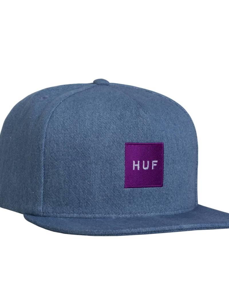 HUF DENIM BOX LOGO HAT - BLEACHED DENIM
