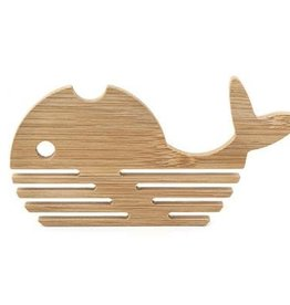 Kikkerland Bamboo whale coasters (set of 4)