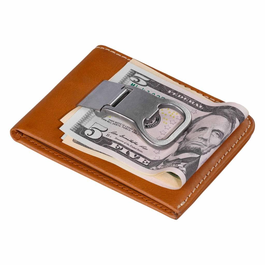 Wild et Wolf Stanley Money clip leather wallet tan