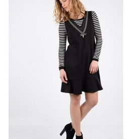 Molly Bracken Ladies woven dress Black & Offwhite