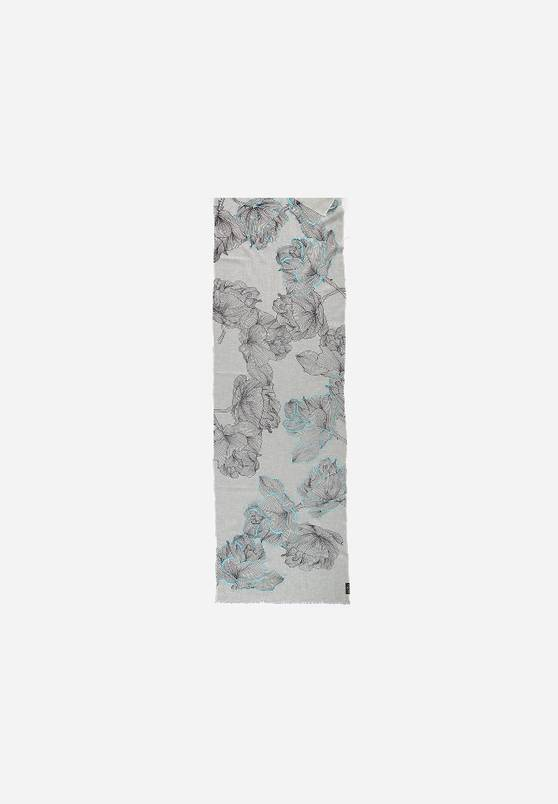 Fraas Fraas Scarf with flower print in pure cotton