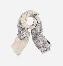"Fraas Linen-blend scarf with flower print ""Made in Italy"""
