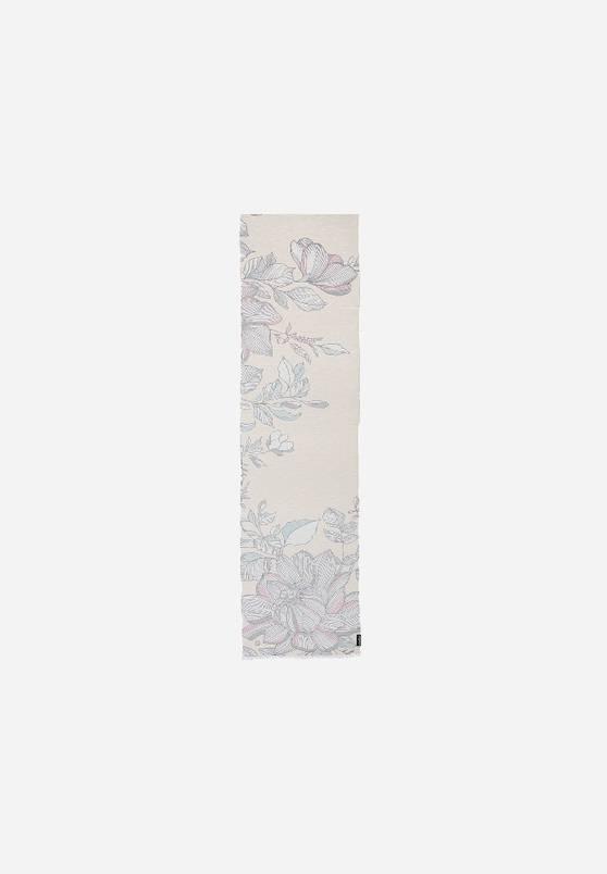 "Fraas Fraas Foulard en lin mélangé avec imprimé de fleurs ""Made in Italy"""