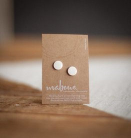 Maboue Glossy white porcelain studs