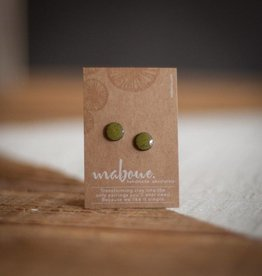 Maboue Olive green stoneware studs