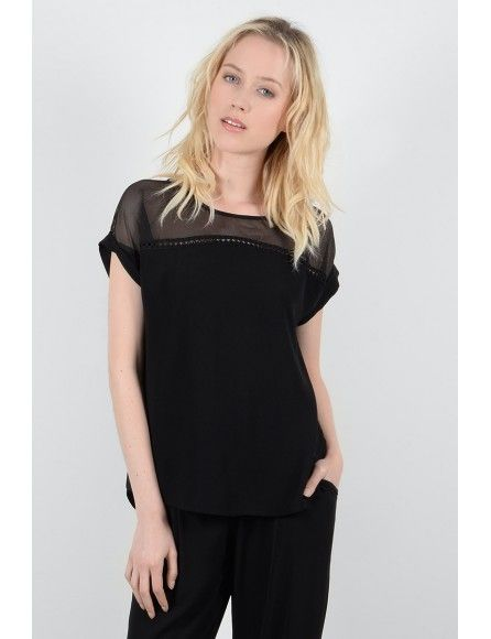 Molly Bracken Molly Bracken Top Noir Voilé