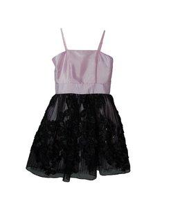 Un Deux Trois Pink and Black Lace Dress