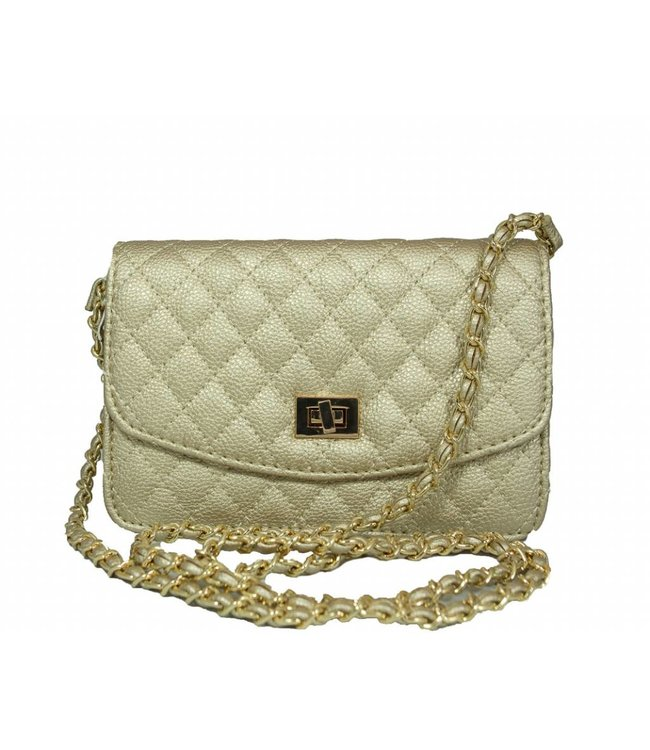GS Quilted Leather Clutch w/ removable strap