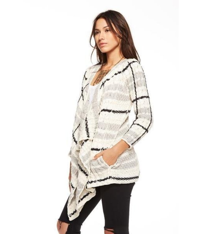 Chaser Women Chaser Plaid Cable Knit Cardigan