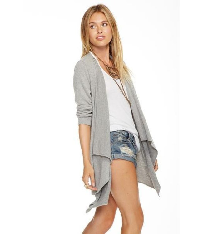 Chaser Women Chaser Knit 3/4 Sleeve Drape Front Cardigan Grey