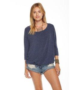 Chaser Women Chaser 3/4 Sleeve Pacific Sweatshirt W/ Drawstring Blue