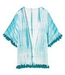 Tie Dye Kimono Aqua/White O/S