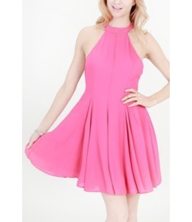 Halter Neck Fit And Flare Dress