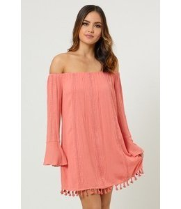 Dee Elly Off The Shoulder W/ Bottom Trim Salmon