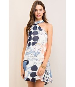 American Fit Printed Dress W/ Asymmetrical Halter-Style Neckline Multi