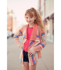 Lucky Brands Lucky Brand Striped Cardigan Shell Pink/Multi