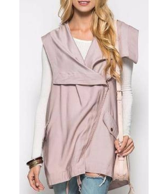 She + Sky Wide Collar Hooded Vest Light Taup