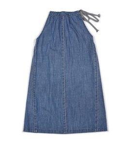 7 For All Mankind Neck Tie Dress Beach Blue Denim