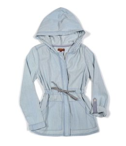 7 For All Mankind Jacket W/ Drawstring And Hood Chambray