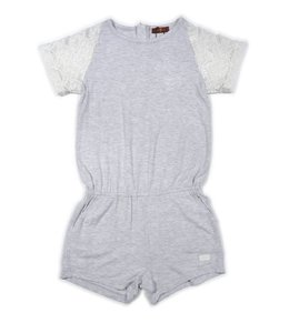 7 For All Mankind Romper W/ Lace Sleeves Grey/Ivory